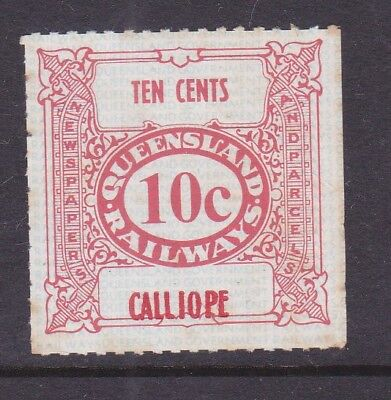 *QLD RAILWAY PARCEL STAMP. 10c RED.CALLIOPE.MNG.1970's era.*