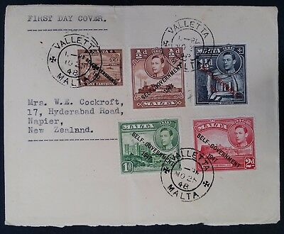 SCARCE 1948 Malta Self Government FDC ties 5 stamps canc Valletta
