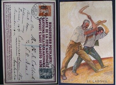 """RARE 1921 Switzerland National Holiday Postcard """"La Labeur"""" ties 2 stamps"""