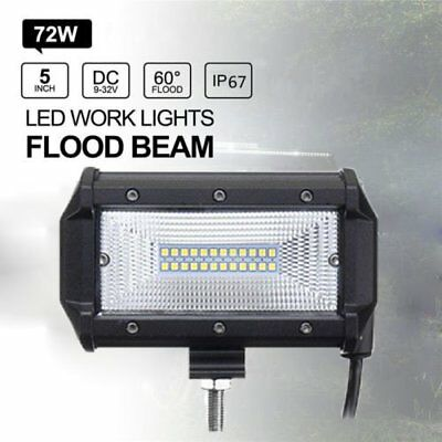 5'' 72W LED Work Light Bar Flood Driving Lamp Jeep Truck Boat Offroad Cool 6000k