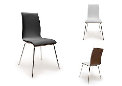 Tao Bent Wood Retro Dining Chairs - Walnut with Chrome Legs - Black or White