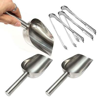 3x StainlessSteel Metal Ice Scraper Food Buffet Candy Bar/Ice Scoops + Clip SM &