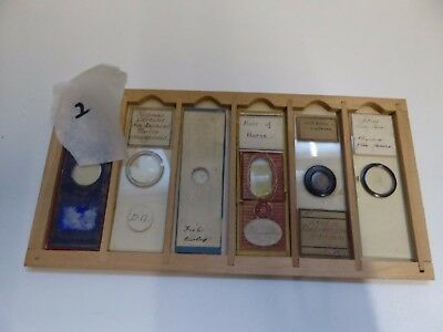 6 x Antique Paper Covered and Other Glass Microscope Slides Ref#2