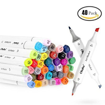 Ohuhu 40 Colours Dual Tips Art Sketch Twin Marker Pens with Carrying Case for Pa