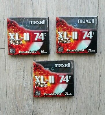 LOTE PACK x3 MINIDISC MAXELL XL-II 74 MINUTES NEW AND SEALED 3 PACK MINIDISC
