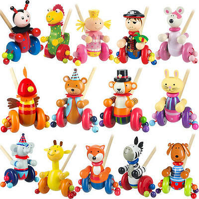 Cartoon Animal Cart Toys PUSH ALONG WOODEN TOY Baby Toddler Kids Walking Gift SJ