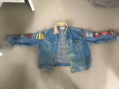 Rock and Roll Denim Jacket Size L Complete With Badges and Biffy Clyro Lyrics