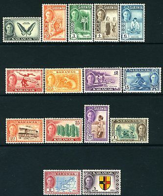 SARAWAK-1950 Set to $5 Sg 171-185  LIGHTLY MOUNTED MINT V19340
