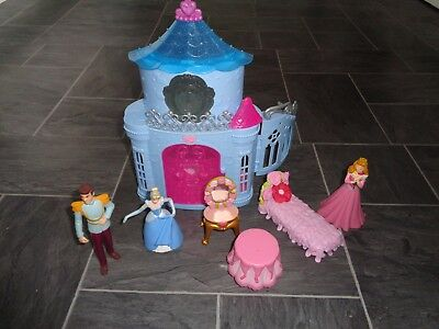 disney princess cinderella castle playset+cinderella/prince figures+ furniture
