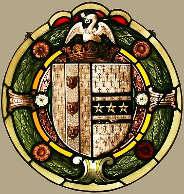 Antique LEADED STAINED GLASS Armorial Coat of Arms Heraldic  - We Ship Worldwide