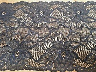 7inch/175mm Stunning Black Floral Design Double Edge Stretch Flat Lace Trim