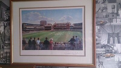 "60 x 46 cm Framed Print of ""Lords"" by Alan Fearnley Signed by Denis Compton"
