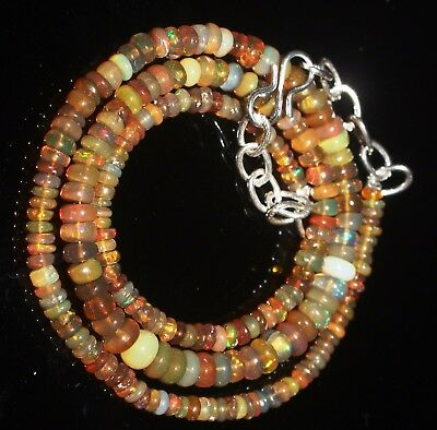 43 Ctw 2-5.5 Mm 16 Natural Genuine Ethiopian Welo Fire Opal Beads Necklace-R6410