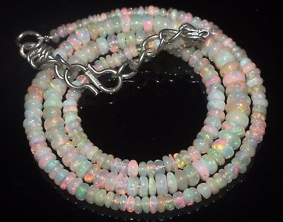 46 Ctw 2-5.5 Mm 17 Natural Genuine Ethiopian Welo Fire Opal Beads Necklace-R6539