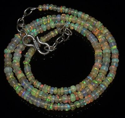 27 Ctw 2-3.5 Mm 16 Natural Genuine Ethiopian Welo Fire Opal Beads Necklace-R6525