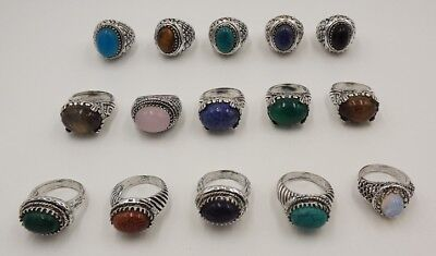 15Pcs.Lot Classic Turquoise & Multi Stone 925 Silver Plated Unique Ring KA9922