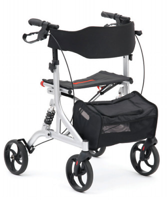 Silver And Black Shock Absorber Suspension Folding Rollator Adjustable Walker
