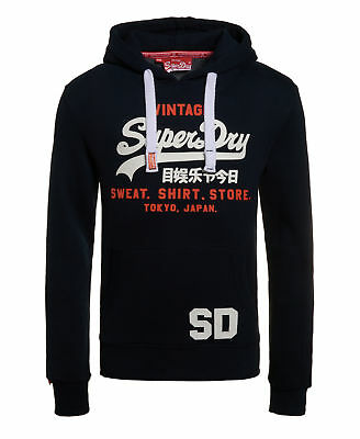 New Mens Superdry Sweat Shirt Store Hoodie Eclipse Navy