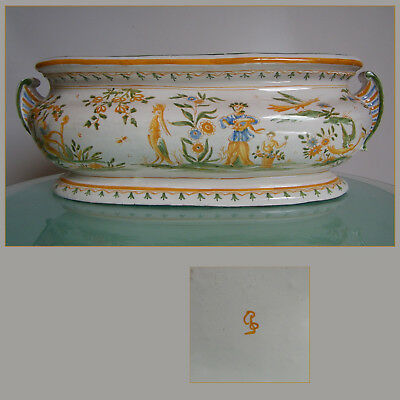 JARDINIERE FAIENCE de MOUSTIERS XVIII° GROTESQUES ANTIQUE FRENCH POTTERY VASE