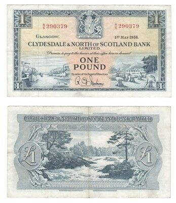 Clydesdale & North of Scotland Bank Ltd £1 Banknote.