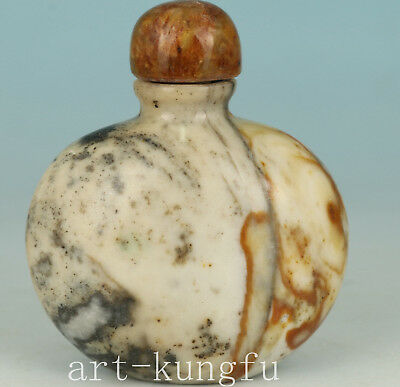 Chinese Yellow Jade Collection Handmade Carved Statue Snuff Bottle