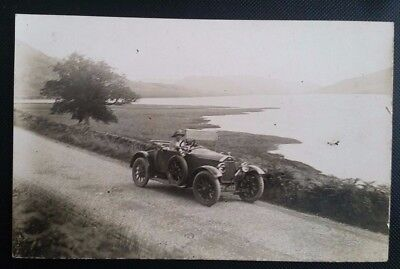 Nice Vintage Real Photo Postcard of Woman Driving Her Car Near a Lake