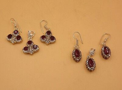 2Pcs.Lot Mesmerizing Ruby 925 Turkish Victorine Nice Pendant & Earring KA5730