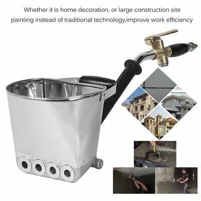 Wall Mortar Sprayer Gun Stucco Shovel Ladle Cement Plaster Hopper With Handle #L