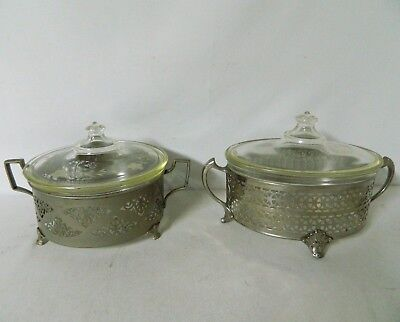 Pair of Vintage Pyrex Glass Casserole Dishes w/ Lids & Holders - Dated 1919