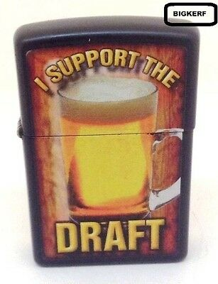 I Support The Draft     Zippo Windproof  Lighter     Black Matte - New In Box