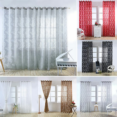 Home Beauty Leaf Lattice Yarn Curtain Room Decor Bedroom Curtains Window Hot