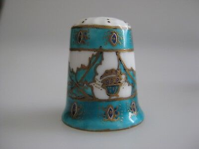 Hand Painted THIMBLE with FLOWERS Leaves Signed