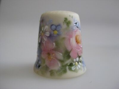 Hand Painted THIMBLE with Pink Roses FLOWERS Leaves Signed M TOWLEY Australia