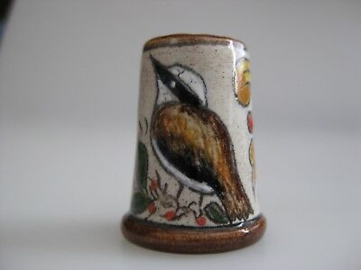 Hand Painted THIMBLE with a BIRD