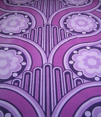 Vintage Volution curtains designed by Peter Hall for Heals. Purple psychedelic