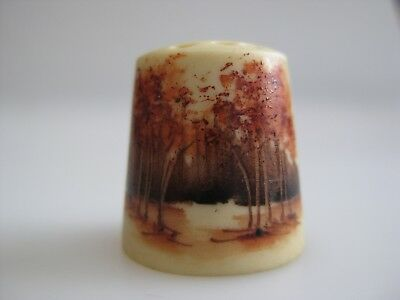 Hand Painted THIMBLE Autumn Trees