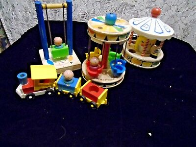 Vintage Fisher Price 1963 Amusement Park Pieces with people