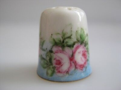Hand Painted THIMBLE wth Flowers PINK ROSES
