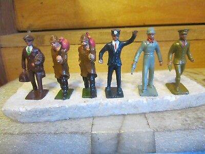 vintage lesd toys 6, figures,  railroad men hobos, etc. nice