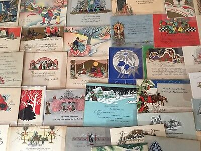 NICE LOT of 37 VINTAGE ART DECO CHRISTMAS  CARDS-Early 1900's-k-26
