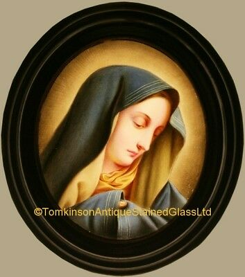 Antique LEADED Hand Painted STAINED GLASS - Virgin Mary - We Can Ship Worldwide