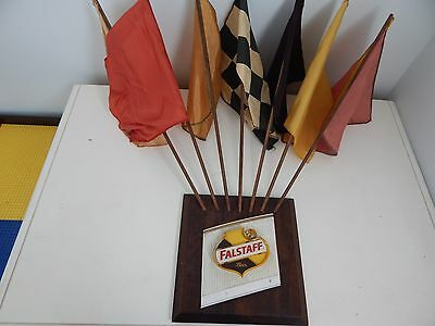 Vintage Plastic & Wood Falstaff Beer Hanging Sign With Seven Flags Rare