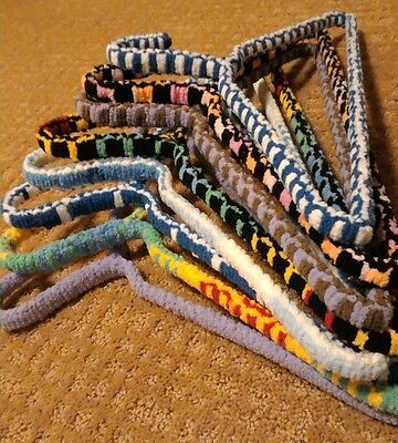 8 Vintage Yarn Covered Wire Clothes Coat Hangers Woven 60s 70s Retro Colorful