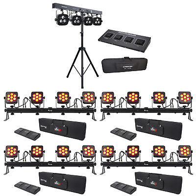 4 Chauvet DJ 4Bar Flex T USB D-Fi DMX LED Light Bars+Cases+Foot Switches+Fixture