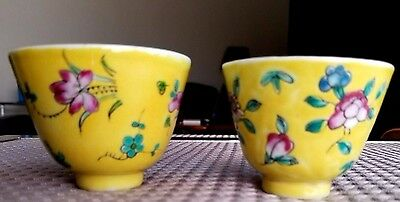 Fine Antique HIS and HERS Pair CHINESE Porcelain TEA CUPS / BOWLS Hand Painted
