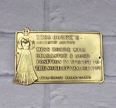 Miss Hoares Domestic Agency Brass Plaque