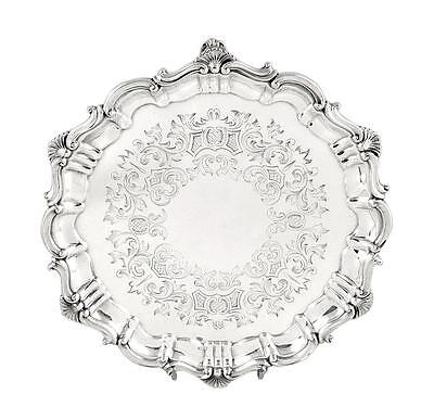 """Antique Victorian Sterling Silver 8"""" Tray  - 1866"""