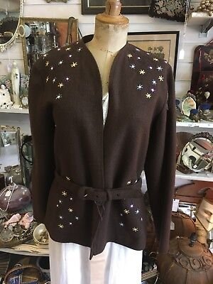 Vintage 30s Belted Wool Jacket With Embroidered Shoulders