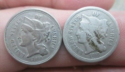 Two 1868 United States Three Cents Nickel Coins No Reserve