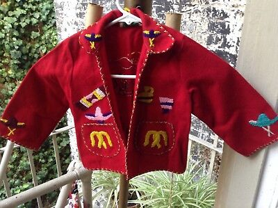 Vintage Child's Mexican Wool Lopez Souvenir Embroidered Jacket Red Sz.2/3